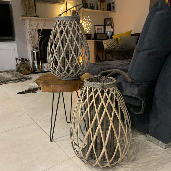 Grey Washed Round Willow Lantern with Rope - 30cm & 41cm