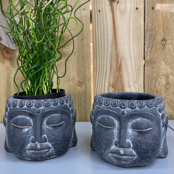 All black buddha concrete plant pots