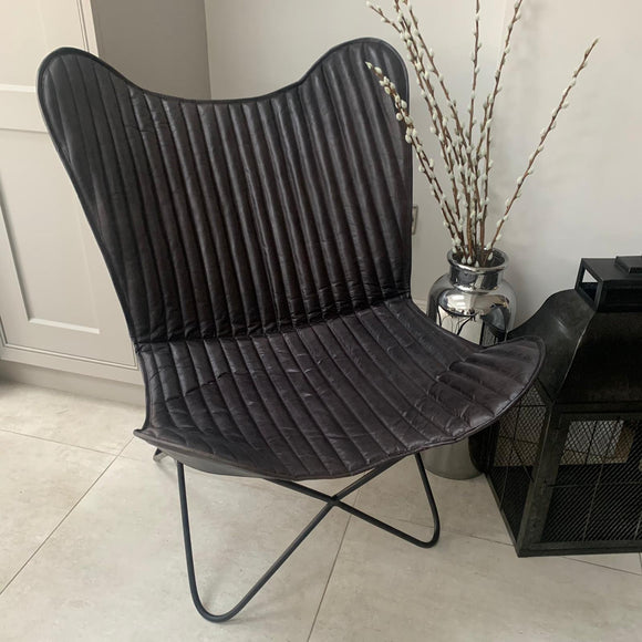 Steel Grey Leather & Iron Butterfly Chair - Unique piece