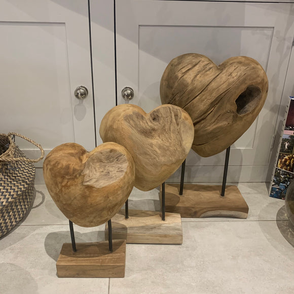 Solid Teak Heart on an Iron Stand
