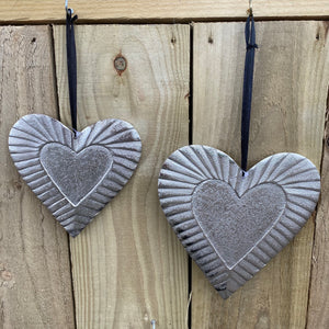 Hanging Heart  - Metal with Embossed Edging