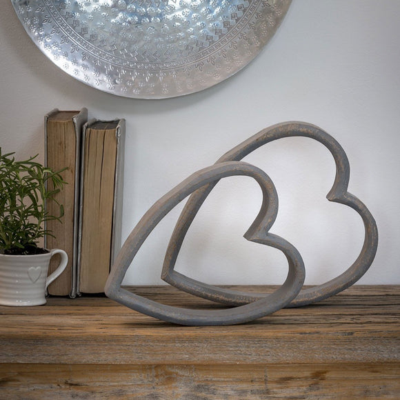 Retreat - Set of 2 Mantelpiece Sleeping Hearts in Grey
