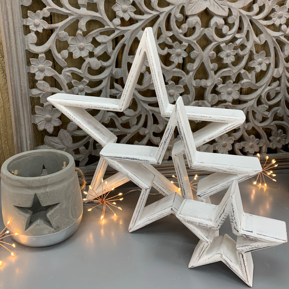 Retreat - Set of 3 Mantelpiece Stars | Distressed White