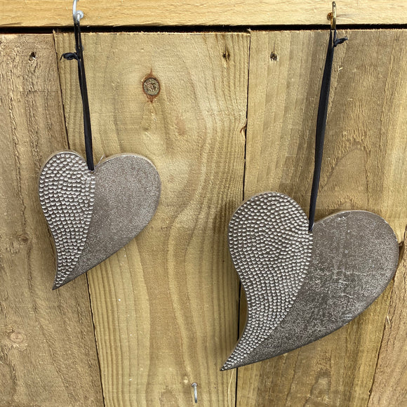 Hanging Heart - Metal with Hammered Finish