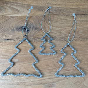 Set of 3 Beaded Champagne Tree Decorations