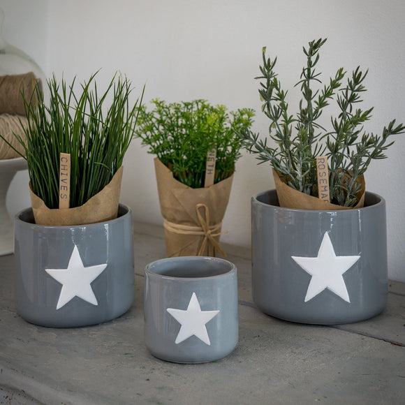 Retreat - White Star Grey Ceramic Pots