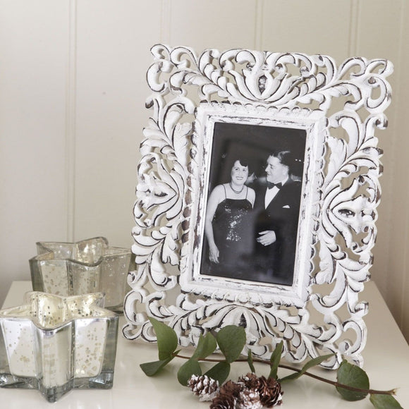 Retreat - Ornate Distressed White Frame 6x4