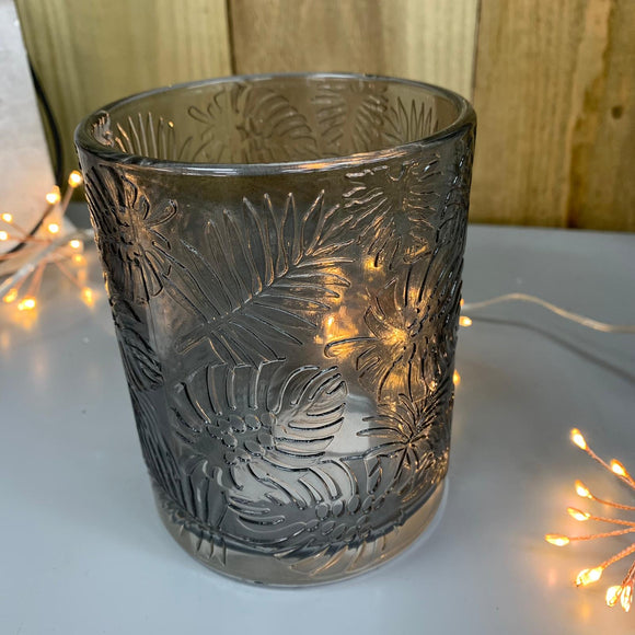 Grey Leaf Embossed Glass Pot