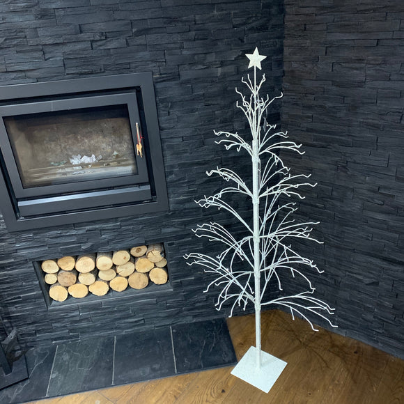White Metal Glitter Xmas Tree - 150cm