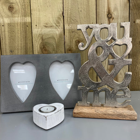 Aluminium 'You & Me' on Wooden Base