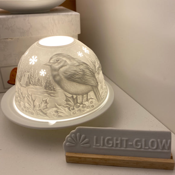 Christmas Light Glow T-light Holder -  Robin design