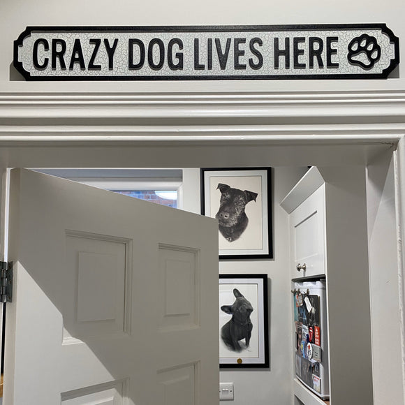 'Crazy Dog Lives Here' Small Vintage Street Sign