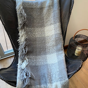 Faux Mohair Throw - Grey Checked