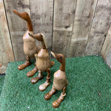 Handmade Teak Wooden Standing Ducks in Boots - 3 sizes