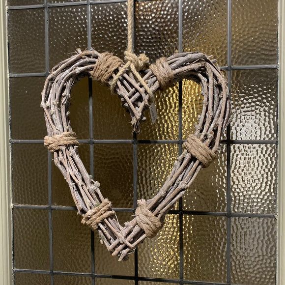 Rope tied Willow hanging Heart