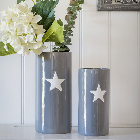 Retreat - White Star Grey Ceramic Vase - Small & Large