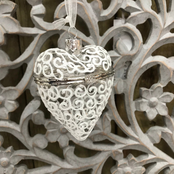 Hanging glass opening heart bauble