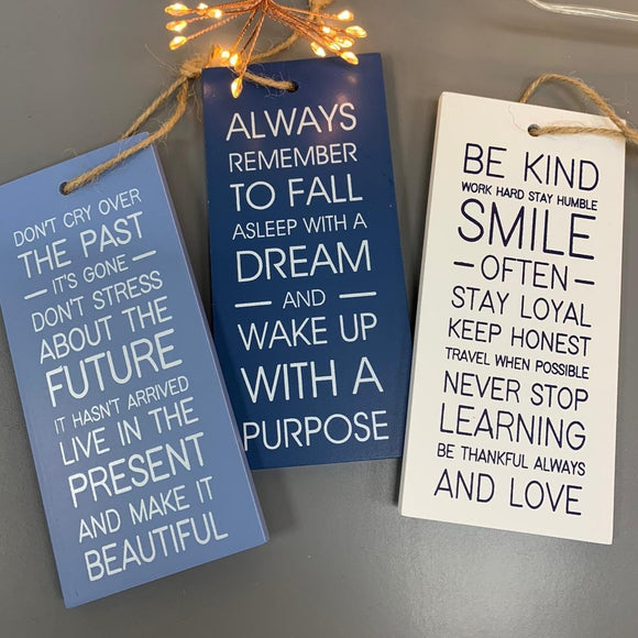 Inspirational Quotes Small Hanging Plaques - Blue & White