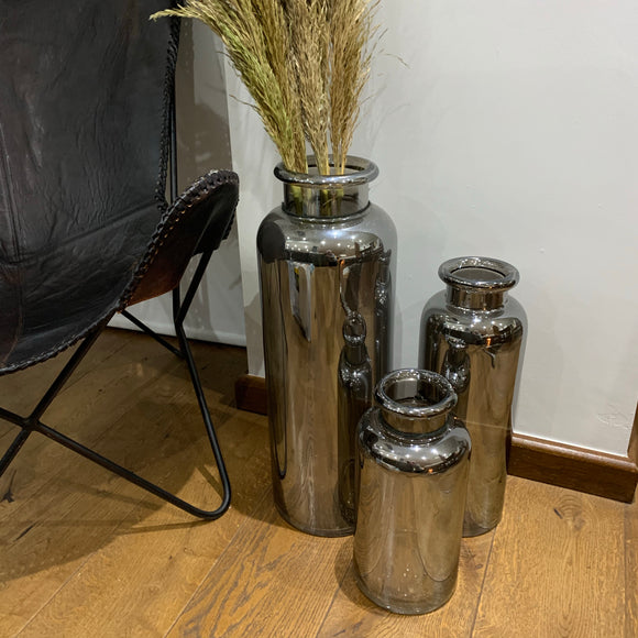 Tall Smoked Silver Glass Vases