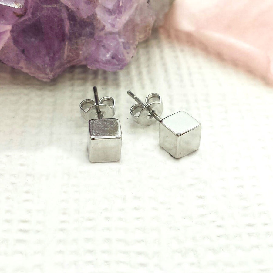 Life Charm Earrings - Cube Studs