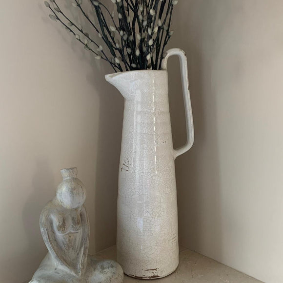 Large pitcher jug in white with a distressed/cracked finish - Decorative vase