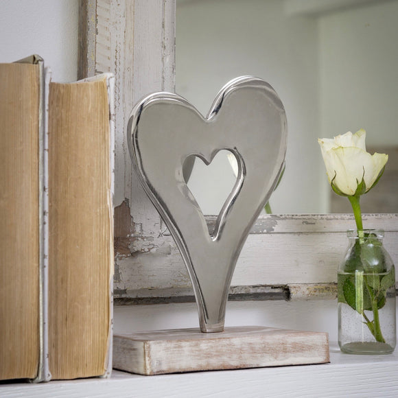 Retreat - Stylised Table Top Nickel Heart
