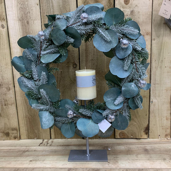 Eucalyptus and Pine Wreath on a stand