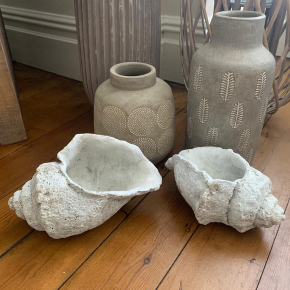 Stylish grey concrete conch shells - rustic unfinished look - 23 cm & 27 cm