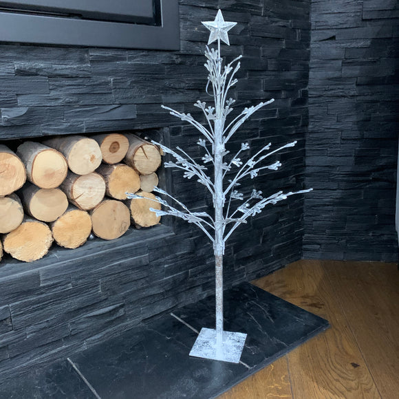 Small Silver Metal Twig Tree - 78cm