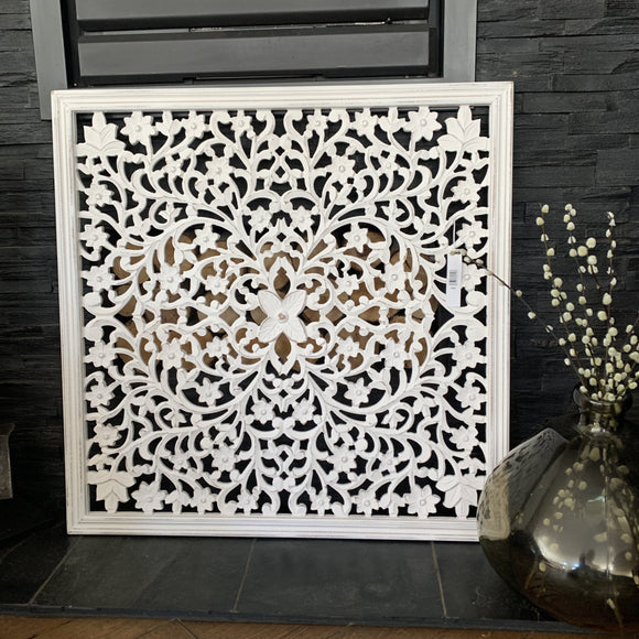 Medium White Hand Carved Wall Panel  |  10SS61