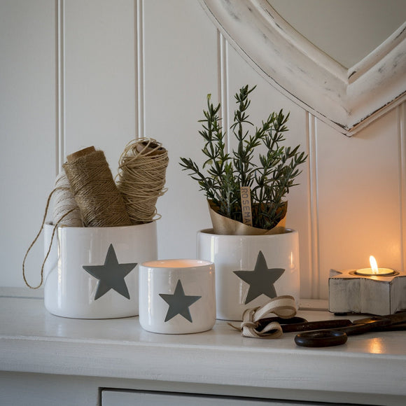 Retreat - Grey Star White Ceramic Pots