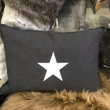 Charcoal Star Cushion | Natural Fibre (Square or Oblong)