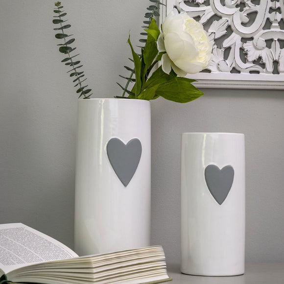 Retreat - Grey Heart White Ceramic Vase