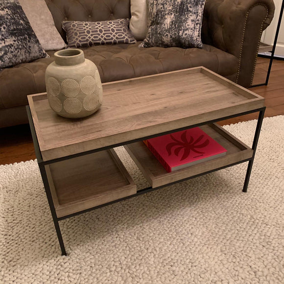 Gallery Natural Wood Veneer & Black Metal Coffee Table