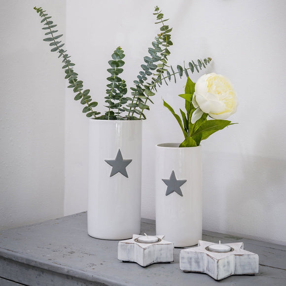 Retreat - Grey Star White Ceramic Vase