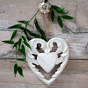 Retreat - Winged Wood Hanging Heart