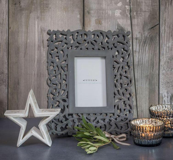 Retreat - Grey Filigree Photo Frame 6x4