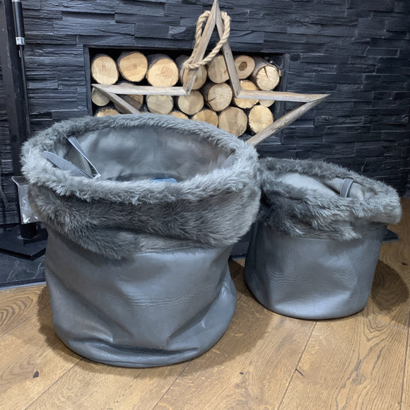 Dark Grey Baskets Faux Leather/Fur Dark