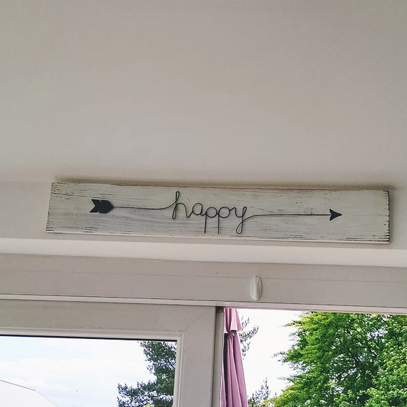 'Happy' Wooden long sign