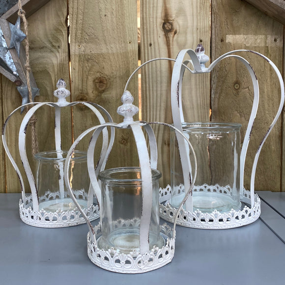 White Antique Crown Candle Holder