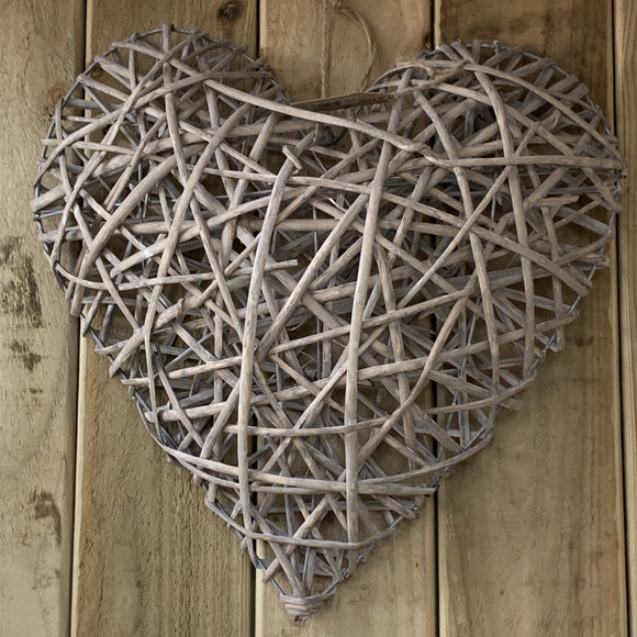Greywashed Willow hanging Heart