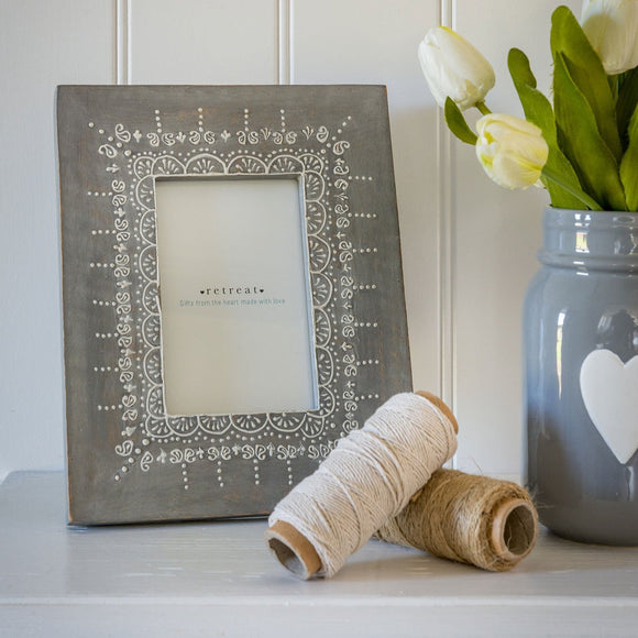 Retreat - Hand Painted Grey Photo Frame