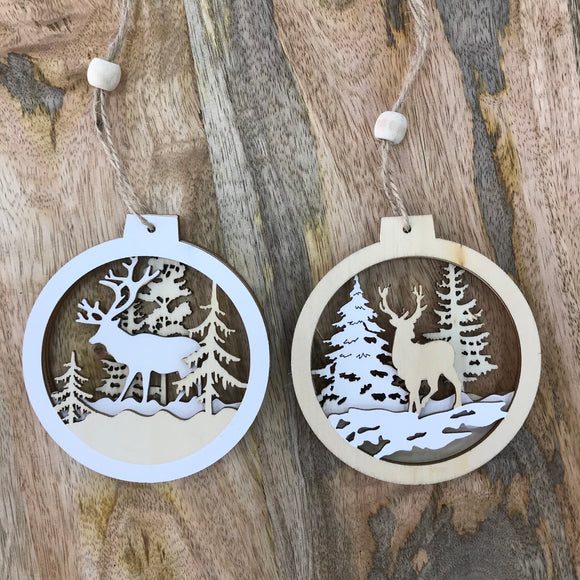 Hanging Wooden Cut Out Baubles - 2 Designs