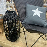 Willow lantern in all black crossed into a diamond shape and finished with a thick rope handle - 65 cm