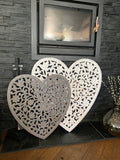 White Heart Hand Carved Panel