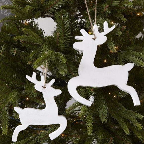 Christmas - White Reindeer Decorations
