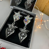 Hanging Glass Angel on Heart Baubles - set of 4