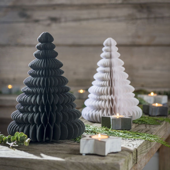 3D Paper Christmas Trees in grey or white