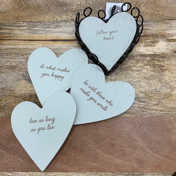 Heart Quotable Coaster Mat - set of 4