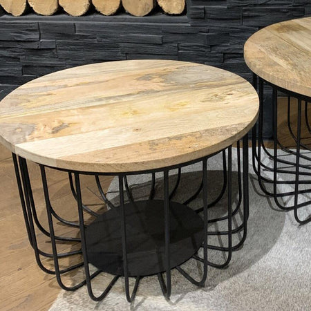 Small Table - Mango Wood & Iron wire coffee tables